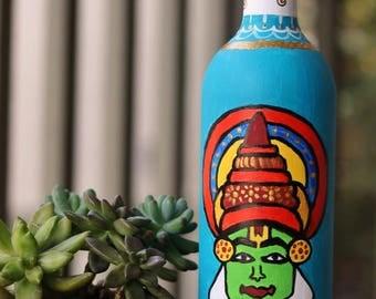 Handpainted Bottle Vase / Up-cycled Wine Bottle / Kathakali Painting on a Wine Bottle / Home decor / Indian folk art / Unique gift ideas