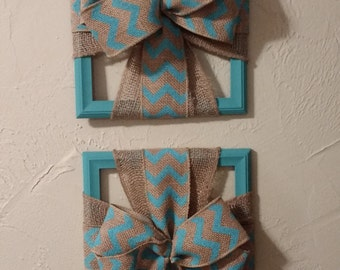 Burlap, Cross Picture Frame, Home Decor, Religious, Turquoise and Natural