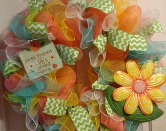 Spring wreath, deco mesh Wreath, summer wreath, spring decor, front door wreath, Easter wreath, flower wreath