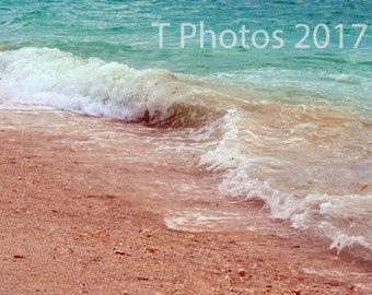 Key West Waves, beach photography - digital download of ocean waves photography, wall art, background image, gift, sand, shells, calm