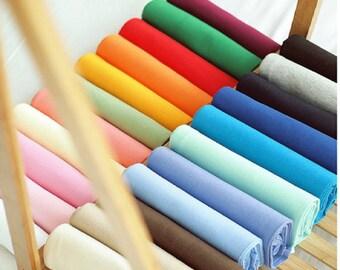 Cotton Jersey Fabric. solid knit fabric. Ribbing binding knit. rib knit. orange yellow mint aqua blue purple beige black pink peach olive
