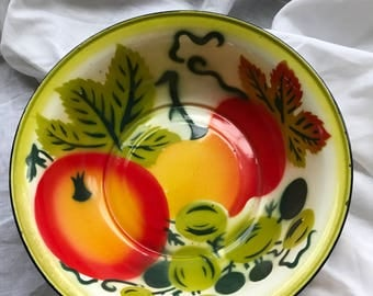 Vintage Enamelware Bowl with Fruit Design
