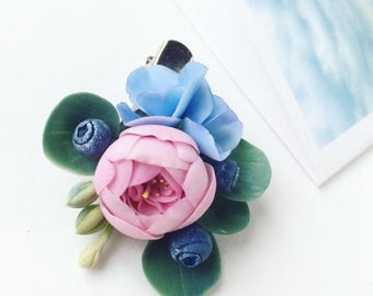 Pink hair clip, flower head piece, child hair clip, flower headpiece, wedding hair clip, blue girl hair clips, hairpece, floral hair piece