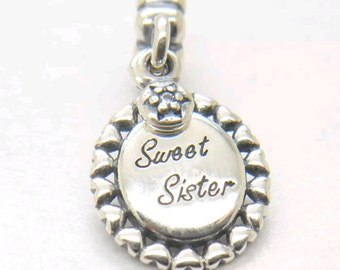 SALE-Sweet Sister 925 Sterling Silver Dangle Charm Stamped 925