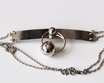 Discreet Slave Day Collar , Discreet Petite Necklace, Sterling Silver, Ring of O Collar, Balls Pendant, Day Collar, Choker Necklace