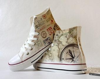 Traveller, World Map, Compass Custom Made Shoes