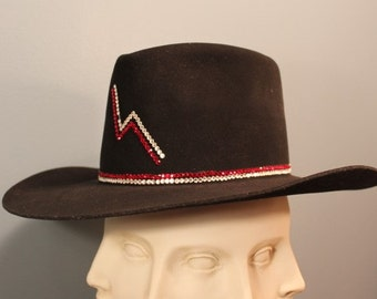 "Vintage J.R. Ross Swarovski Crystal Studded Las Vegas Cowboy Hat ""Black Diamond Lightening"" 7"""