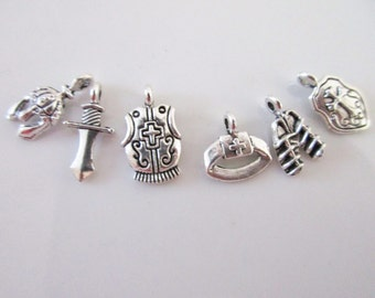 The Armor of God collection, Gods Armor, Miniature Gods Armor Collection, 6 different antique silver tone charms