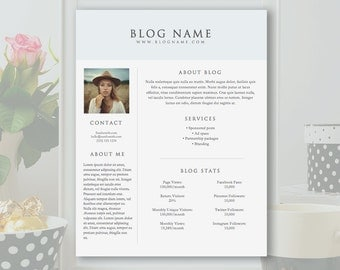 1-Page Blog Media Kit Template - Microsoft Word Doc *INSTANT DOWNLOAD*