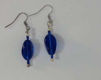 Custom hand made earrings dark blue glass bead