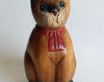 Hand Carved Wooden Cat Figurine Sculpture Teak Wood Carving & Hand Painted Decor Nos