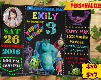 Monsters Inc Invitation, Monsters Inc Birthday Invitation, Monsters University Invitation, Sulley and Mike Wazowski Invitations, Printable