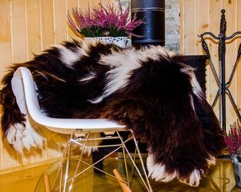 Sheepskin. Brown and White Sheepskin Rug. Super Soft Silky Long Hair. Fur rug.