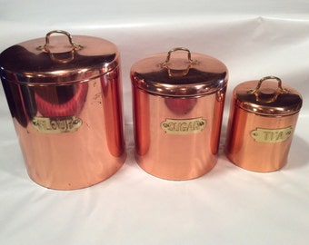 Vintage copper flour, sugar,tea canisters,decanter,country western kitchen decor