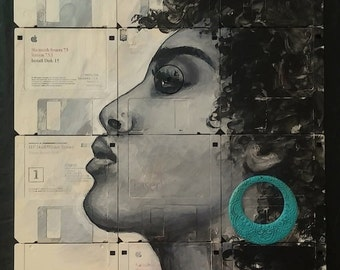 """Unframed """"Fierce"""" girl portrait painted on up-cycled recycled floppy disks old diskettes - wall hanging art"""