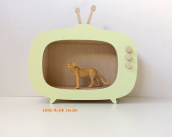 Wood & TV Summer Yellow-kids room-vintage-retro television/television-wooden toys