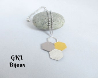 Leather - Hexagon necklace
