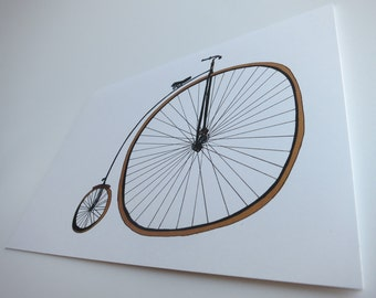 Vintage Bicycle - Bicycle Art - Whimsical - Eco Friendly - Blank Card - Writer Gift - Quirky - Folded Note Card - Stationery - Greeting Card
