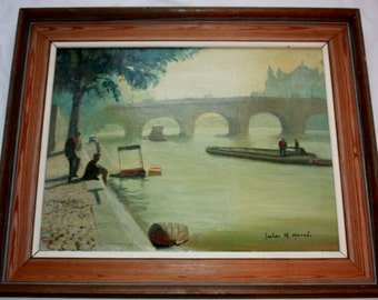 Misty Morning on the Seine Impressionist work by Jules R Herve Original oil on board mid 20th Century