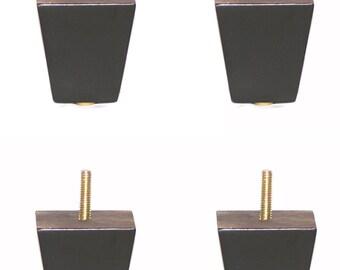 2 1/2 Inch Black / Espresso Finish Square Tapered Pyramid Wooden Sofa Legs,