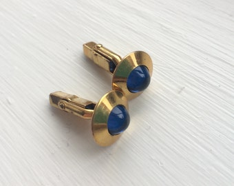 """CLEARANCE: Vintage 1940s, 1950s """"Swank"""" blue Moonglow Lucite, gold-plated Cufflinks"""