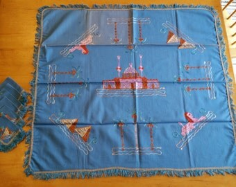 Vintage '40s Egyptian Luncheon Tablecloth Set