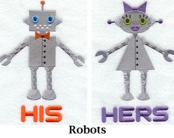 His and Hers Towel Set - Robots