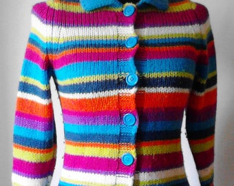 Knitted jacket  wool, Vest wool, Multicolored woolen cardigan, Vest in many colors, Multicolored Knitted jacket