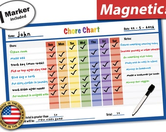 "Magnetic Behavior Reward Chore Chart for Kids and Teens -Dry Erase Responsibilities Chore Chart - 17"" X 11"" inches"