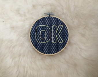 """Embroidery hanade embroidery picture """"OK"""""""