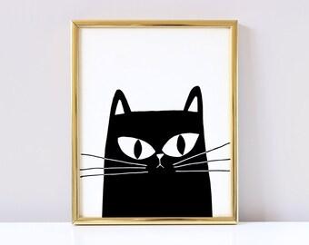 Black Cat Nursery Poster - Black Cat Poster - Black Cat Nursery Print - Black Cat Print - Black Cat Wall Art - Digital Download