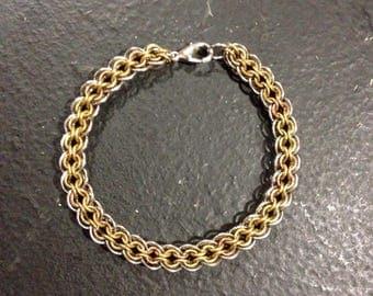 Medieval Elegance Steel Brass Copper Chainmaille Bracelet