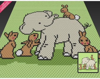 Elephant and Friends crochet blanket pattern; c2c, cross stitch; knitting; graph; pdf download; no written counts or row-by-row instructions