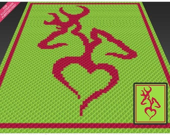 Stag and Deer crochet blanket pattern; c2c, cross stitch; knitting; graph; pdf download; no written counts or row-by-row instructions