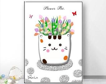Flower Pot, Pretty cat's flower pot, Kitty flower pot, Art print, Home decor wall art, Kids and nursery wall art, Download print poster.