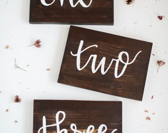 Wedding Table Numbers, Handlettered Table Numbers, Wood Table Numbers