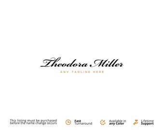 Premade Logo. Script Font Logo. Calligraphy Logo. Business Logo Design. Text Only Logo. Premade Logos. Photography Logo. Handwritten Logo