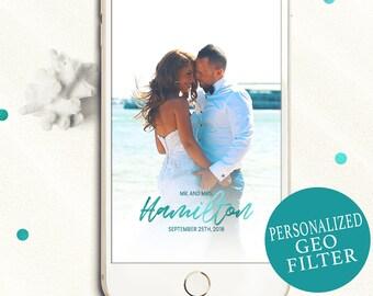 Snapchat Geofilter for Wedding-Turquoise Modern Calligraphy Filter-Metallic Gold Wedding Filter-Personalized Snapchat Wedding Geofilter