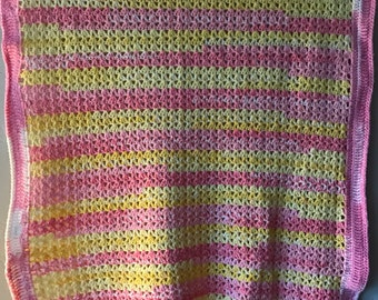 Pink, White & Yellow baby afghan