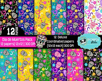 INSTANT DOWNLOAD|| Dia de Muertos/Sugar skull- papers ||12x12 ||3600x3600l|12 papers|| Printable|| Seamless Patterns||