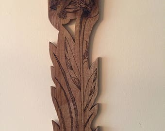 Hummingbird Wood Carving and Burning on Oak