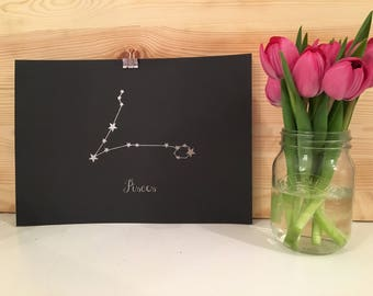 Luxe Collection Pisces Star Sign Constellation Silver Foiled Framed Print