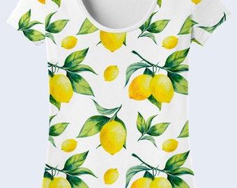 Lemon T Shirt, White T Shirt, Colorful Ladies Top, Summer Clothing, Patterned Womens Shirts, Short Sleeve, Crew Neck Tee