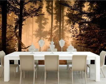 AUTUMN FOREST MURAL, pine forest wallpaper, nature wall mural, forest wallpaper, self-adhesive, forest fog wall mural, forest wallpaper