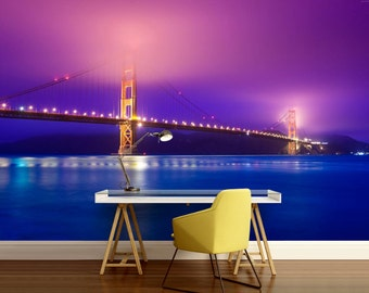 Lightening bridge, San Francisco wallpaper, cities wall mural, self-adhesive vinly, bridge wall mural, golden gate bridge, bridge wallpaper