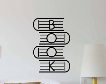 Book Wall Decal School Library Education College Study Classroom Vinyl Sticker Home Children Room Decor Nursery Poster Art Custom Print 492