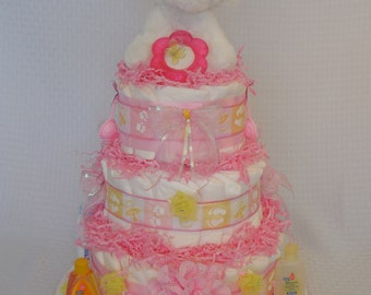 Pink Puppy Decorated Diaper Cake, Gift for Baby Girl, Great for Baby Shower