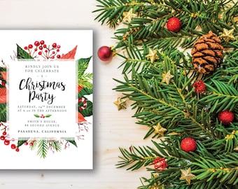 Christmas Party Invitation, printable Christmas invitation,Christmas invitation template,  Christmas printable invitation,christmas PDF