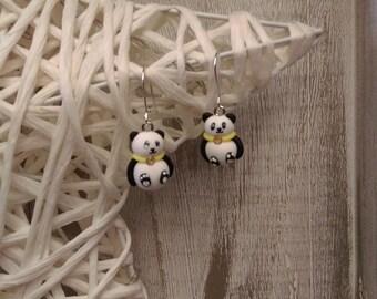 Figurine panda fimo earrings