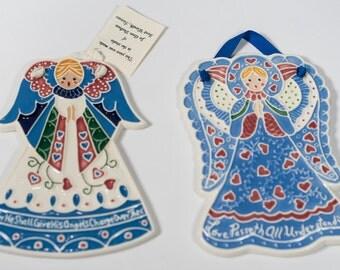 Set of 2 Adorable Hand Made Ceramic Angel Trivets
